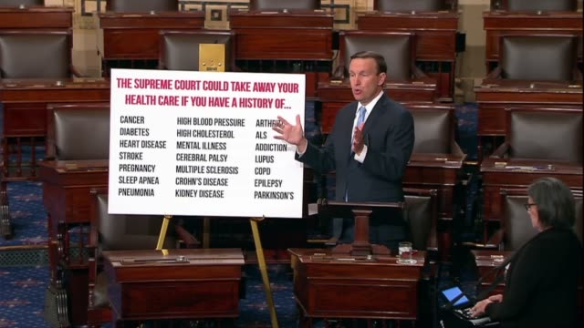 vídeos de stock, filmes e b-roll de connecticut senator christopher murphy says a case involving the trump administration execution of the affordable care act should freak out those the... - condição