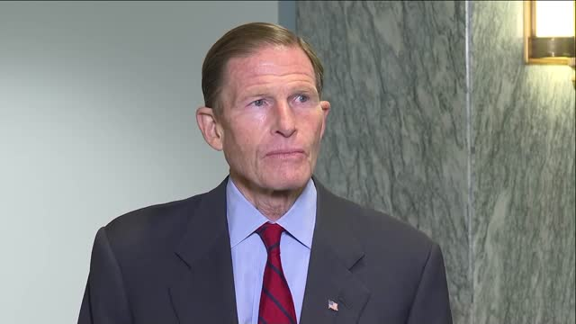 connecticut senator richard blumenthal is asked outside a senate judiciary committee meeting abo president donald trump starting to say that he was... - cosy stock videos & royalty-free footage