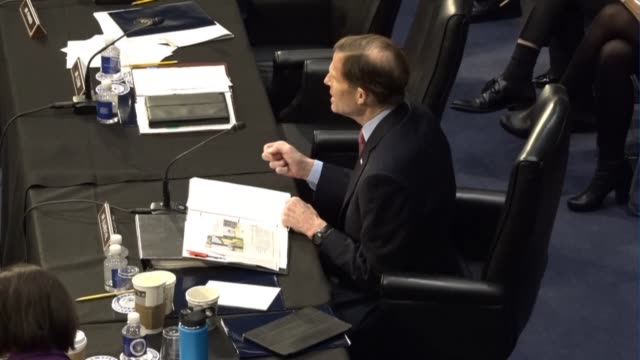 connecticut senator richard blumenthal reads from a prepared statement at a meeting of the senate judiciary committee prior to a vote on sending the... - senate judiciary committee stock videos & royalty-free footage