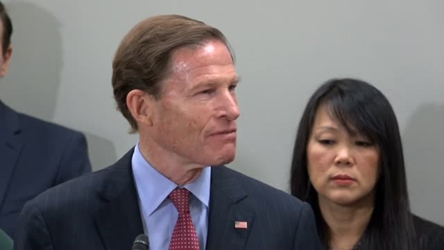 connecticut senator richard blumenthal says at a news conference on gun violence that acreages group of activists numbering hundred mashed those... - ゆでつぶし点の映像素材/bロール