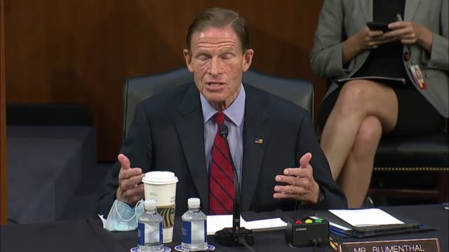 vídeos de stock, filmes e b-roll de connecticut senator richard blumenthal says during a senate judiciary committee business meeting during arguments over whether to report the supreme... - political action committee