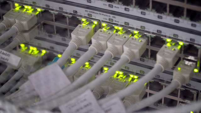 connecting cable and the led lights blinks. the internet server and server of local network - server room stock videos & royalty-free footage