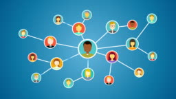 Connecting people, business network. social media service.