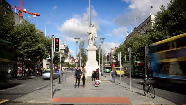 o'connell street, dublin, ireland - ireland stock videos & royalty-free footage