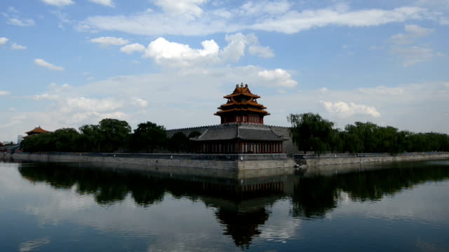conner of the forbidden city, beijing (lr pan) - moat stock videos and b-roll footage