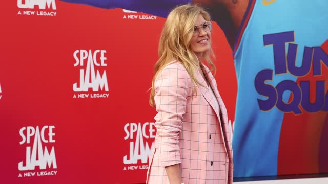 """connie britton attends the premiere of warner bros """"space jam: a new legacy"""" at regal live on july 12, 2021 in los angeles, california. - space jam stock videos & royalty-free footage"""