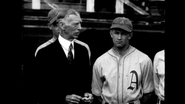 connie mack owner of philadelphia athletics addresses team / spring training scenes / mack demonstrates batting technique connie mack and... - spring training stock videos & royalty-free footage