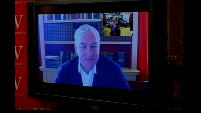 conrad black facing fraud sentence r28110702 england london waterstones piccadilly int display of books black speaking on screen at longpen book... - book signing stock videos & royalty-free footage