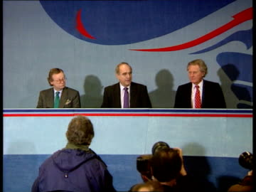 conservative and labour local election manifestos; c)naf england: london: conservative central office: brian mawhinney mp , john gummer mp and... - smith tower stock-videos und b-roll-filmmaterial