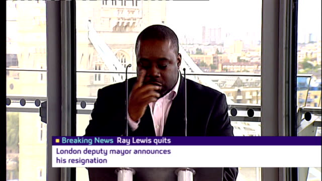conservative deputy mayor of london resigns over allegations; england: london: city hall: int ray lewis press conference sot - barrage of allegations... - channel 4 news stock videos & royalty-free footage