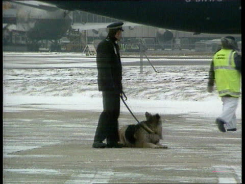 Conservative Divisions Over EuroPolicies LAP John Major MP and wife Norma along on tarmac at airport PAN RL MS Policeman and police dog on tarmac LMS...