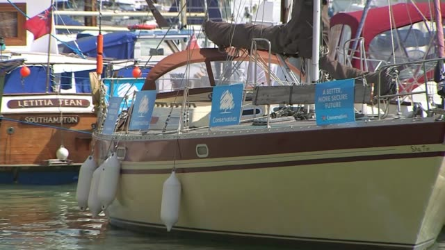 vídeos de stock e filmes b-roll de conservative election expenses investigation kent police given more time to investigate t04051522 / tx 452015 ext boat moored in marina carrying... - ramsgate