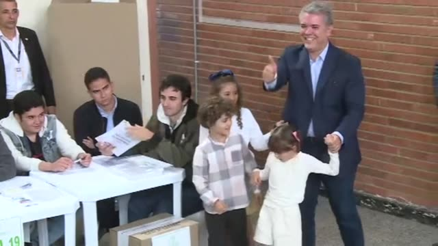 Conservative front runner Ivan Duque casts his vote in Colombia's first round of presidential elections