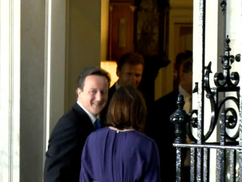 conservative leader david cameron on wednesday got down to business as british prime minister heading a historic centreright coalition that finally... - greater london stock videos and b-roll footage