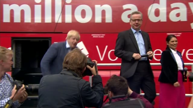 boris johnson pulls out of race tx lancashire preston ext michael gove mp boris johnson mp and priti patel mp disembarking vote leave campaign bus to... - michael gove stock-videos und b-roll-filmmaterial