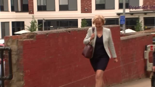 conservative leadership contest: andrea leadsom in northampton; england: northamptonshire: northampton: ext gvs andrea leadsom mp along with husband... - northampton england stock videos & royalty-free footage