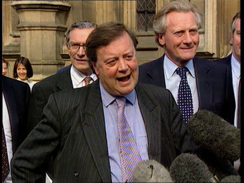 kenneth clarke and william hague to move on to third round of voting heen itn england london westminster ext kenneth clarke mp speaking to press sot - 政治家 ケネス・クラーク点の映像素材/bロール