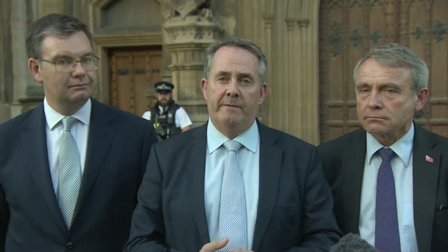 liam fox and stephen crabb out of race ext dr liam fox leaving parliament and along to speak to press dr liam fox mp speaking to press sot i've... - liam fox politician stock videos and b-roll footage