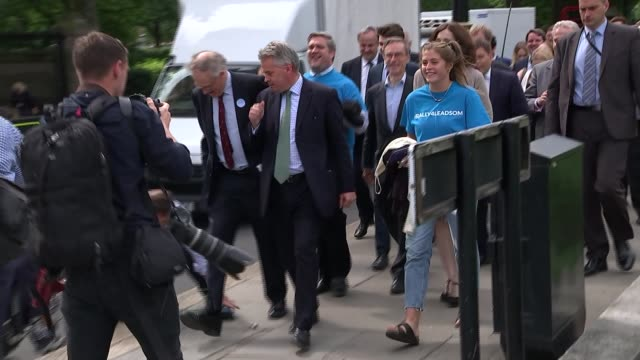 Theresa May and Andrea Leadsom on ballot to succeed Cameron ENGLAND London EXT 'Leadsom for Leader' protesters marching along and chanting SOT Tim...