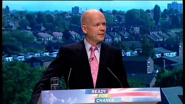 stockvideo's en b-roll-footage met conservative party annual conference 2009 william hague speech and even at times when we seem well ahead and polls say we are on our way let us... - william hague