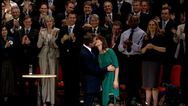 conservative party conference 2008: david cameron speech; general views and close shots of audience applauding and samantha cameron onto stage as... - roxy music stock videos & royalty-free footage