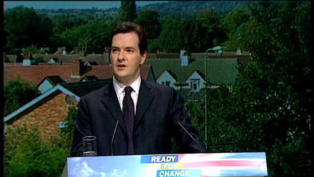 conservative party conference 2009: george osborne speech; george osborne speech continues sot - we need to offer a complete change from the double... - co ordination stock videos & royalty-free footage