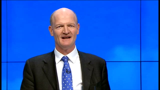 """conservative party conference 2011: david willets speech; david willetts mp speech sot - """"we need to try a new manufacturing process - can you test... - social history stock videos & royalty-free footage"""