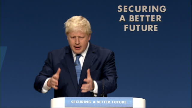 conservative party conference 2014: boris johnson speech; johnson speech sot - we will fight them on the beaches of clacton and we'll fight them on... - no doubt band stock videos & royalty-free footage