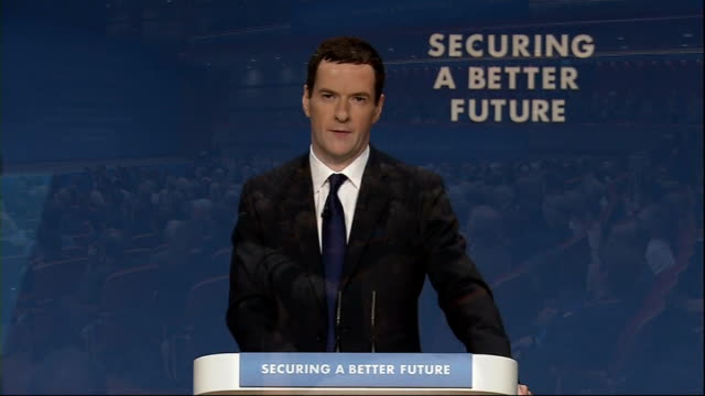 vídeos y material grabado en eventos de stock de conservative party conference 2014: george osborne speech; england: birmingham: int speeded up timelapse people taking seats in conference hall as... - new age