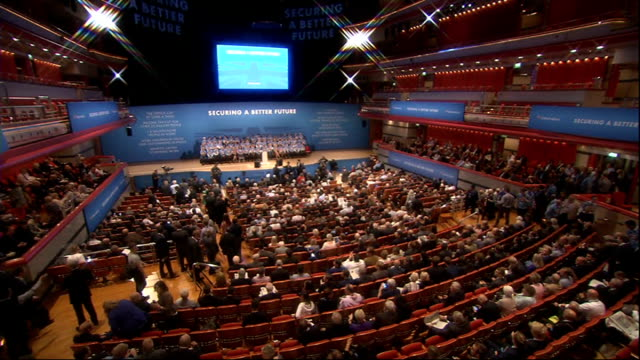 vídeos y material grabado en eventos de stock de conservative party conference 2014: rocky start to conference with resignation and ukip defection; conservative party conference in session - abandonar