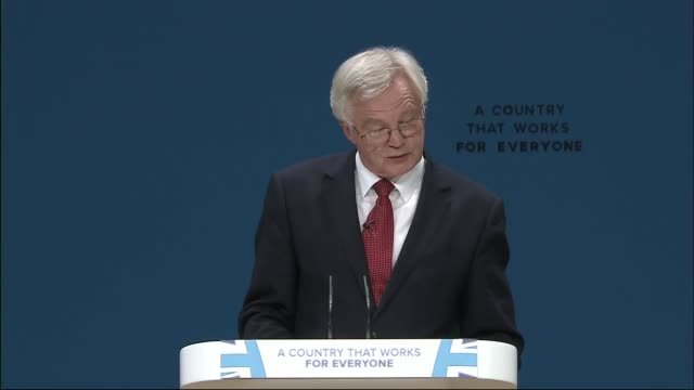conservative party conference 2016: david davis speech; england: birmingham: conservative party conference: int david davis mp speech - including... - david m. davis politician stock videos & royalty-free footage