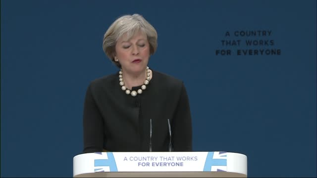 conservative party conference 2016: theresa may speech announces article 50 will be triggered by april 2017; england: birmingham: conservative party... - referendum stock videos & royalty-free footage