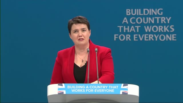 opening day Ruth Davidson speech ENGLAND Manchester INT Ruth Davidson MSP speech SOT / cutaways of audience applauding