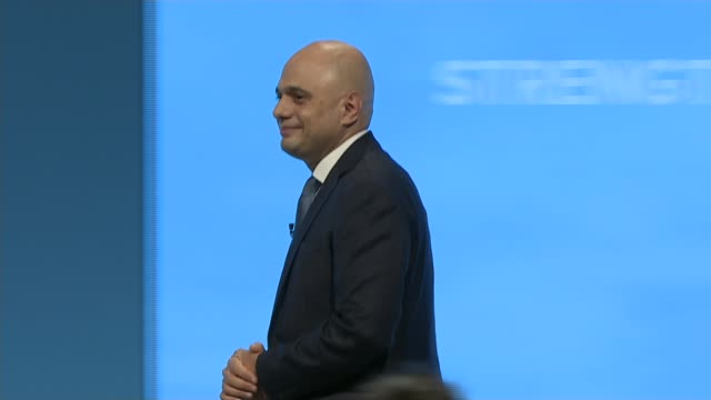 conservative party conference 2019: boris johnson denies grabbing journalist's thigh; england: greater manchester: manchester: int sajid javid mp... - thigh stock videos & royalty-free footage
