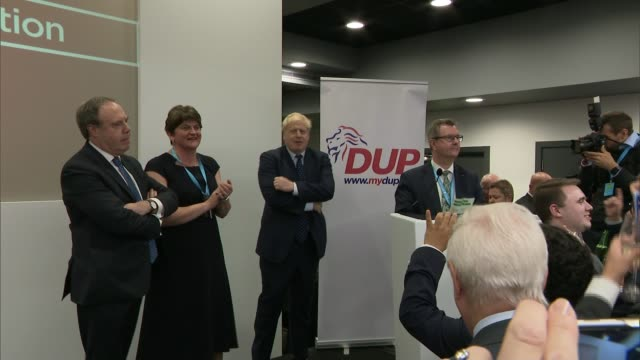 conservative party conference 2019: boris johnson outlines new brexit plan in speech; england: manchester: int arlene foster mla and boris johnson mp... - dup stock-videos und b-roll-filmmaterial