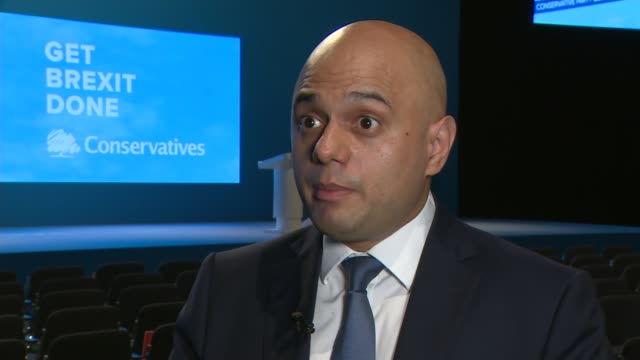 conservative party conference 2019: sajid javid interview; england: manchester: int sajid javid mp interview sot. - on supreme court ruling / boris... - thigh stock videos & royalty-free footage