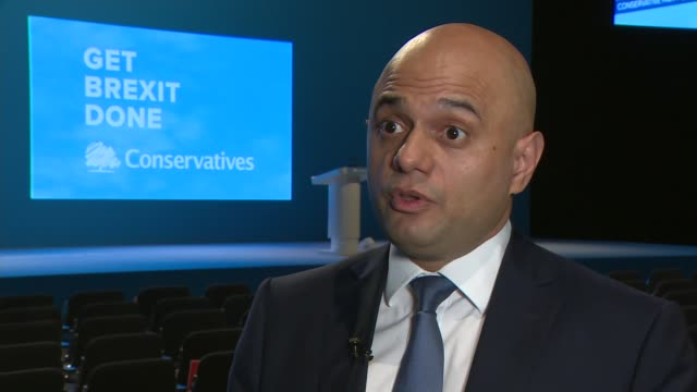 conservative party conference 2019: sajid javid interview; england: manchester: int sajid javid mp interview sot. - on source of funding for current... - home finances stock videos & royalty-free footage