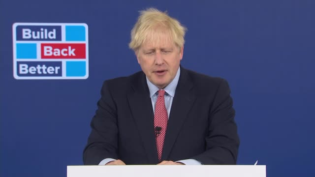 conservative party conference 2020: boris johnson speech; england: london: canary wharf: int boris johnson mp speech sot part 4 of 6. - we will... - blowing stock videos & royalty-free footage