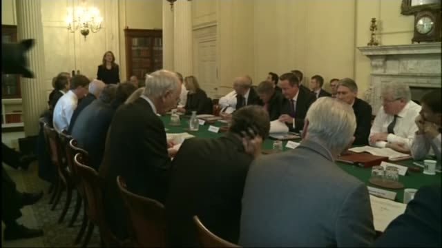 amber rudd speech on immigration lib date unknown downing street david cameron with cabinet ministers around table close shot vince cable - government minister stock videos & royalty-free footage