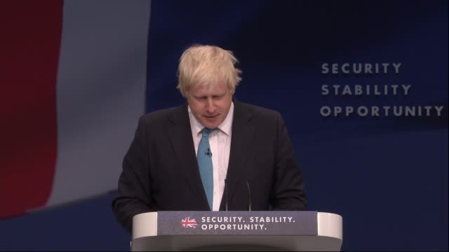 conservative party conference: boris johnson and zac goldsmith speeches; boris johnson speech sot and apart from grunting and heaving the crucial... - trivia stock videos & royalty-free footage
