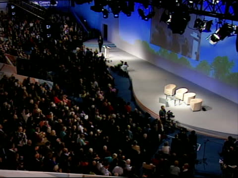 Boris Johnson Arnold Schwarzenegger and Michael Bloomberg speeches Cameron acknowledging applause and waving to audience David Cameron speech SOT...