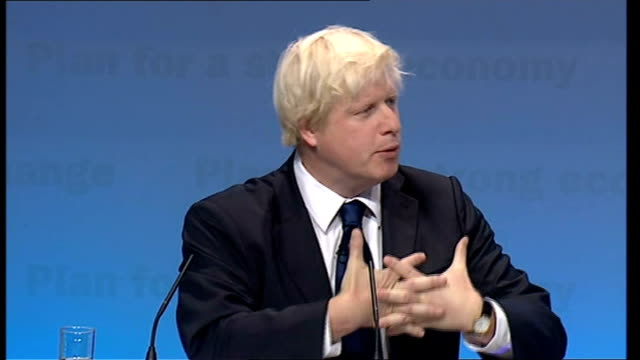 conservative party conference: boris johnson speech; boris johnson continued sot - these are some of proposals will be unveiling as part of youth... - new hire stock videos & royalty-free footage