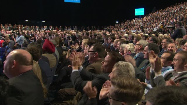 boris johnson speech conservative party conference int audience applaud boris johnson as he delivers speech / boris johnson mp speech sot [re brexit]... - conservative party uk stock videos and b-roll footage
