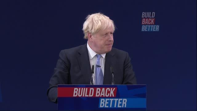 conservative party conference: boris johnson speech; part 3 of 11 england: manchester: int boris johnson mp speech sot / cutaways of johnson and... - simplicity stock videos & royalty-free footage