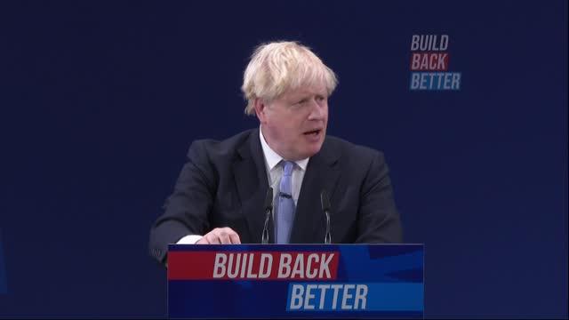 conservative party conference: boris johnson speech; part 8 of 11 england: manchester: int boris johnson mp speech sot / cutaways of johnson and... - dolphin stock videos & royalty-free footage