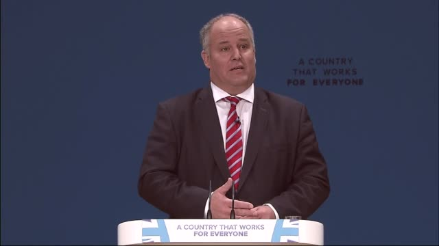 """conservative party conference: brexit dominates andrew rt davies """"breakfast"""" gaffe; england: birmingham: icc: int andrew rt davies am speech sot -... - teleprompter stock videos & royalty-free footage"""