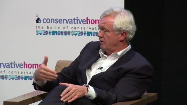 conservative party conference: brexit dominates / theresa may interview; int david davies mp speaking on stage at fringe meeting sot - if they go... - david m. davis politician stock videos & royalty-free footage
