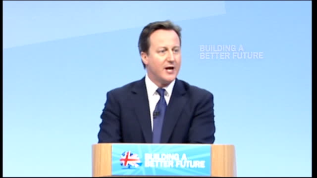 conservative party conference: cameron blames bureaucracy for holding britain back: cameron speech; wales: cardiff: int prime minister david cameron... - bureaucracy stock videos & royalty-free footage