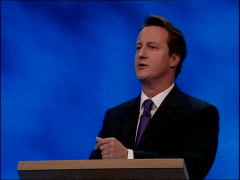 conservative party conference: david cameron first speech; - the nhs computer: delayed, disorganised, a 20 billion pound shambles / forced police... - computer equipment stock videos & royalty-free footage