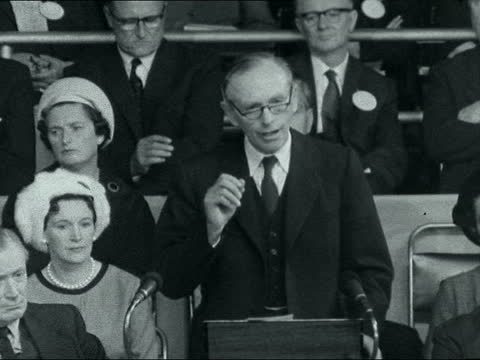 conservative party conference: day 1; ** digitised version of fs111061012 ** 11pm england: brighton: conservative party conference: int alec... - alec douglas home video stock e b–roll